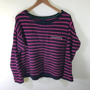 Tommy Hilfiger Women's Navy and Pink Sweater XL